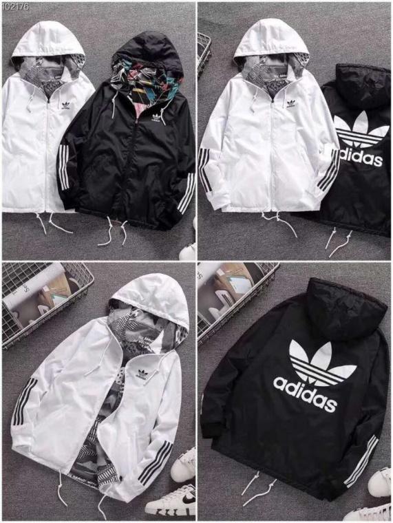 【厂家低价】阿迪达斯三叶草男士双面夹克连帽外套!