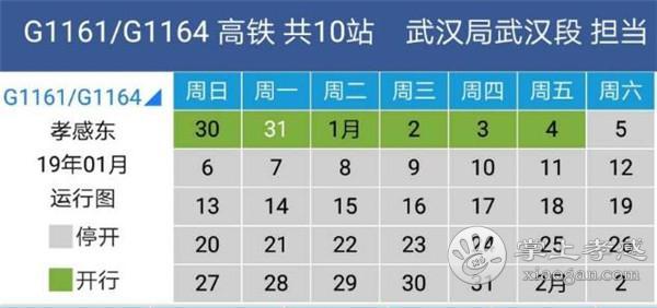 孝感东站唯一一趟始发高铁G1164次车2019年1月5日起停开[图1]