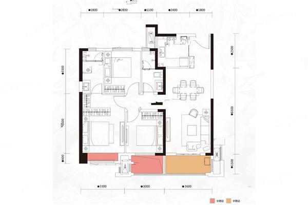 星河天街帝景湾小区102平三室两厅出售