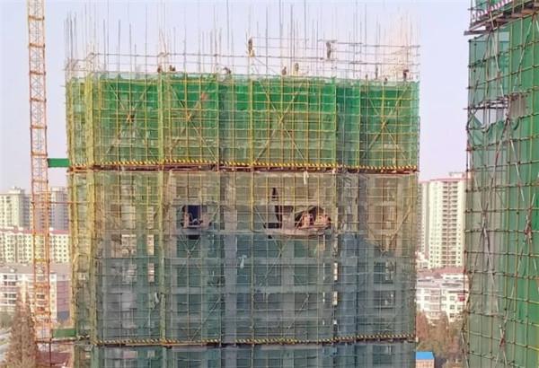 孝感金域国际12月工程进度:18号楼正在搭建21层脚手架,即将进入钢筋绑扎阶段!
