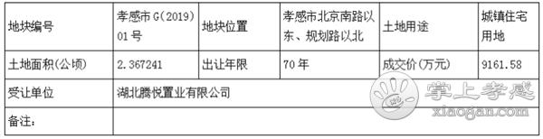 祝贺!孝感市G(2019)01号地块被湖北腾悦置业以9161.58万元拍下![图3]