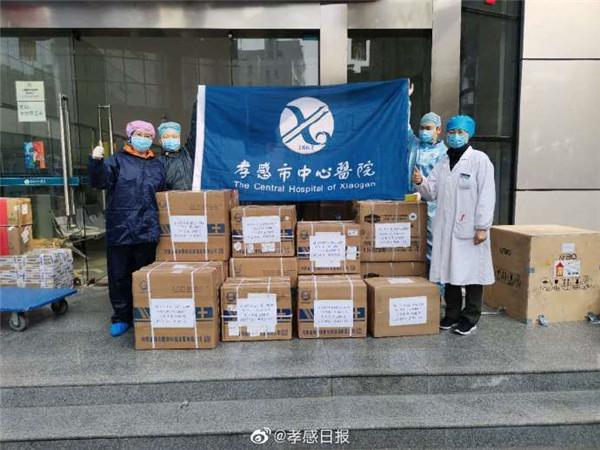 湖北乾坤购物有限公司捐赠的第四批抗疫物资运抵市中心医院!