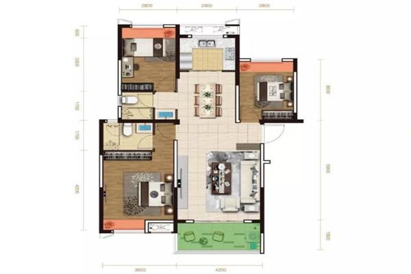御景水岸 3室2厅1卫 2100元月 豪华装修 99平